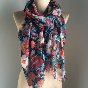 Sheer Colorful Floral Patterned Lightweight Scarf
